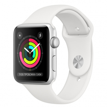 Apple Watch Series 3 38mm Silver Al/White Sport Band